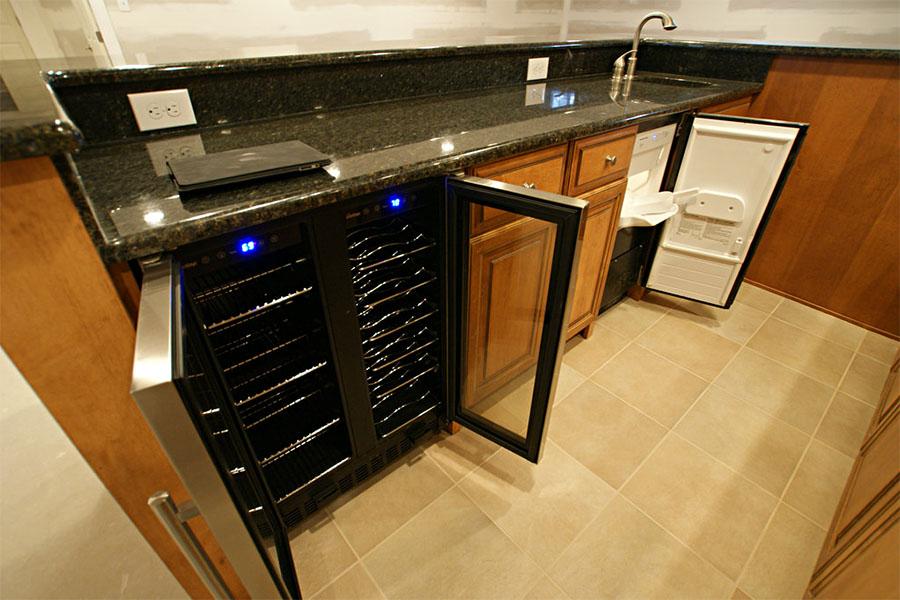 A wine fridge which has 2 different temperature zones