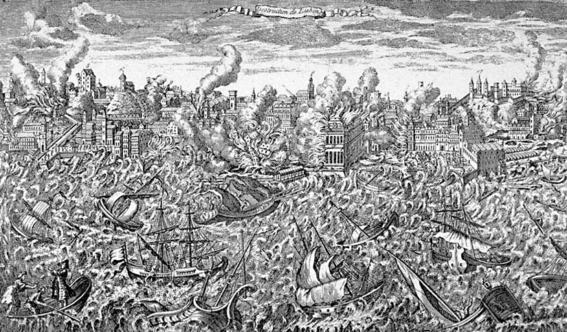 Lisbon destroyed by tsunami an earthquake in 1755