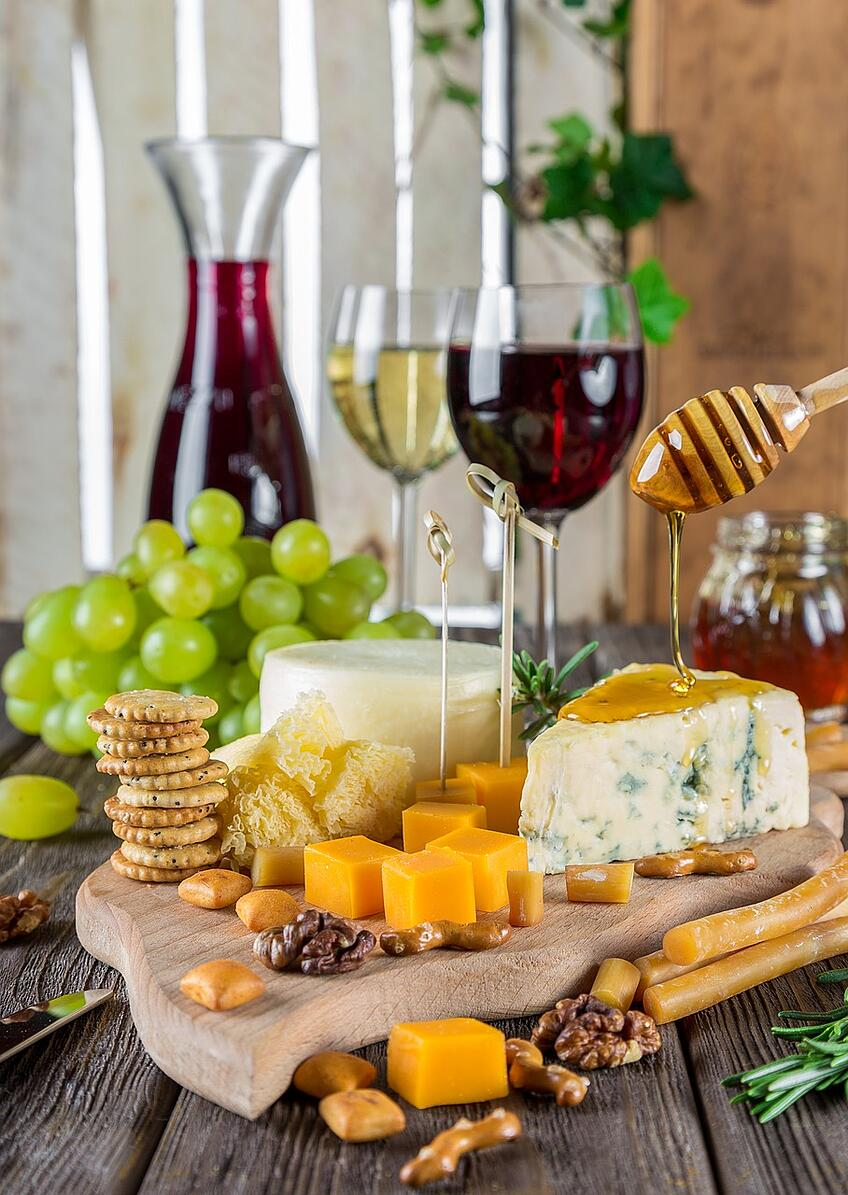 Wine and Cheese Pairing with Honey and Dry Fruits